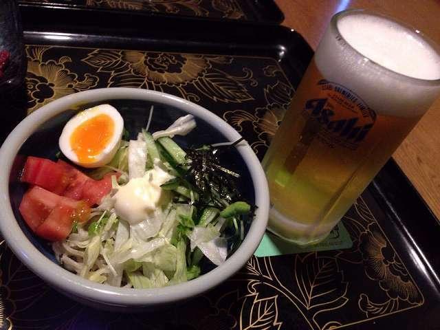 夕餉16~蕎麦サラダ2~生ビール.jpg