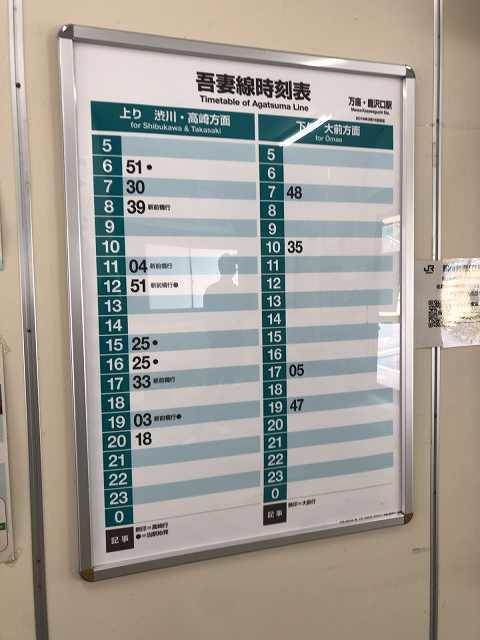 万座鹿沢口駅5時刻表この本数の少なさ.jpg